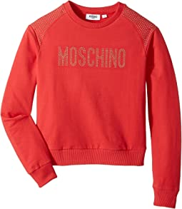 Moschino Kids - Long Sleeve Sweat Top w/ Logo and Shoulder Studs (Big Kids)