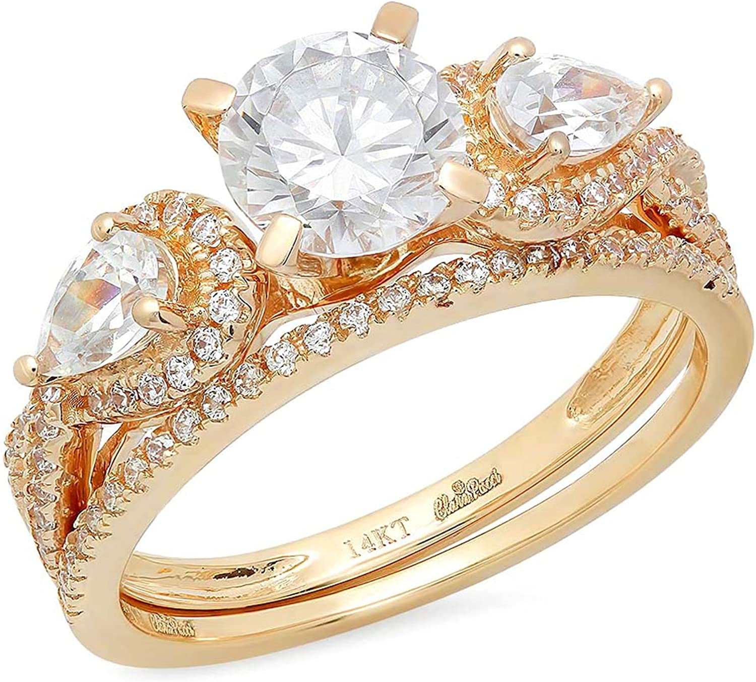 2.0ct Round Pear Cut Solitaire 3 stone With Accent Genuine Moissanite & Simulated Diamond Engagement Promise Statement Anniversary Bridal Wedding Ring Solid 14k Yellow Gold