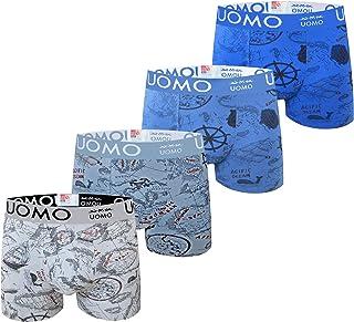 Calzoncillos bóxer para Hombre Ropa Interior con algodón Premium Frente Grande en Y - Paquete de 4 diseños Multicolores It...