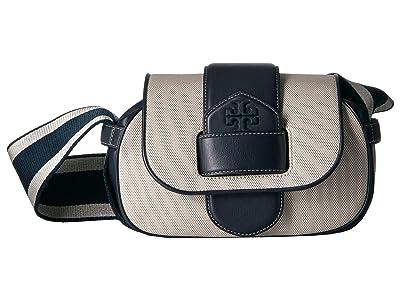 Tory Burch Kira Canvas Shoulder Bag (Natural/Midnight) Handbags