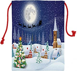 Ambesonne Winter Christmas Gift Sack, Christmas Landscape with Tree and Santa Claus Flying on a Sleigh on The Background, Santa Sack Bag Canvas Fabric for Gifts and Storage, 19.8
