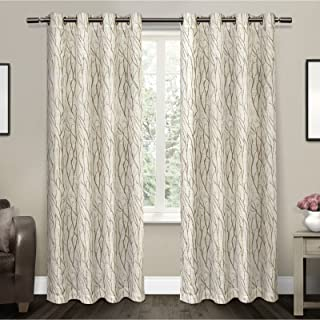 Exclusive Home Curtains Oakdale Sheer Textured Linen Grommet Top Curtain Panel Pair, 54x84, Taupe, 2 Count