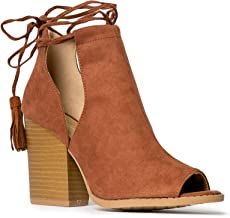 J. Adams Cady Ankle Bootie - Lace Up Peep Toe Cutout Mule Stacked High Heel