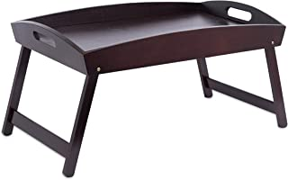 birdrock home bamboo bed tray - wooden curved sides breakfast serving tray with folding legs -