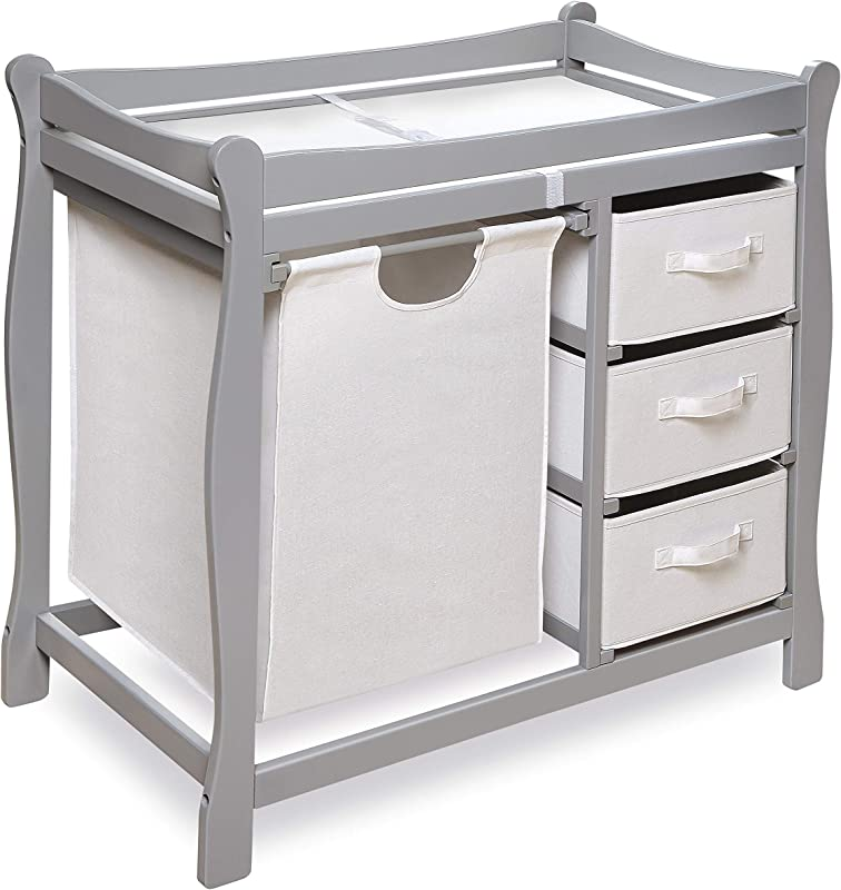 Badger Basket Sleigh Style Changing Table With Hamper Baskets Gray