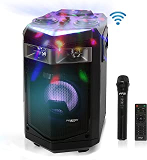 Portable PA Speaker Powered Rechargeable Outdoor Speaker Microphone Set with Mic Talkover MP3 USB SD FM Radio AUX, LED Dj Lights, Pyle PWMKRDJ84BT (System-500W BT Connectivity)