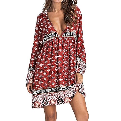 9d709e6d317 Kidsform Women Boho Mini Dress Floral Printed Deep V-Neck Summer Beach  Loose Baggy Sundress