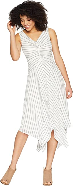 Rope Stripe Printed Crepe Tuck Front Dress with Asymmetrical Hem