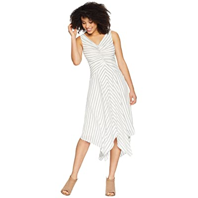 Maggy London Rope Stripe Printed Crepe Tuck Front Dress with Asymmetrical Hem (Soft White/Black) Women