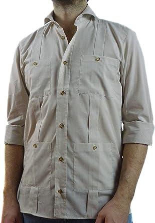 Camisa Guayabera Caballero Beige Mil Rayas (M): Amazon.es: Ropa