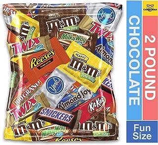 (2 Pound) Variety Assortment Chocolate Mix Bulk Pack M&M's Peanut, M&M's Plain, Reese's Peanut Butter Cups, Snickers, Kit Kat,Twix, Milky Way, Almond Joy, 100 Grand,York Peppermint Patties