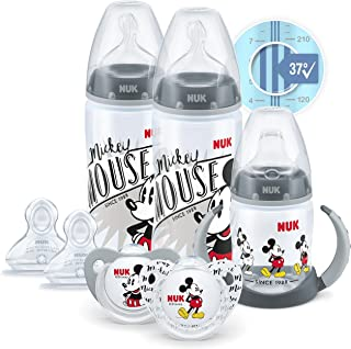 NUK Disney First Choice+ First Years Set | 6-18 Months | Temperature Control | 2 x 300 ml Bottles, 1 x Learner Cup, 2 x So...
