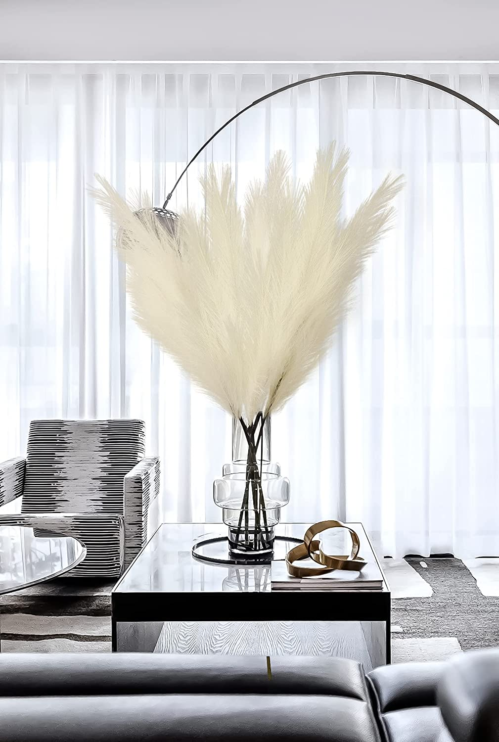 TGNISI Pampas Grass 5 Pcs Fashion Faux and 100CM Tall Large-scale sale Large