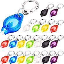 LED Keychain Mini Flashlight Ultra Bright LED Key-Chain Torch with Hook, Batteries Included (White Light, 21 Pieces)