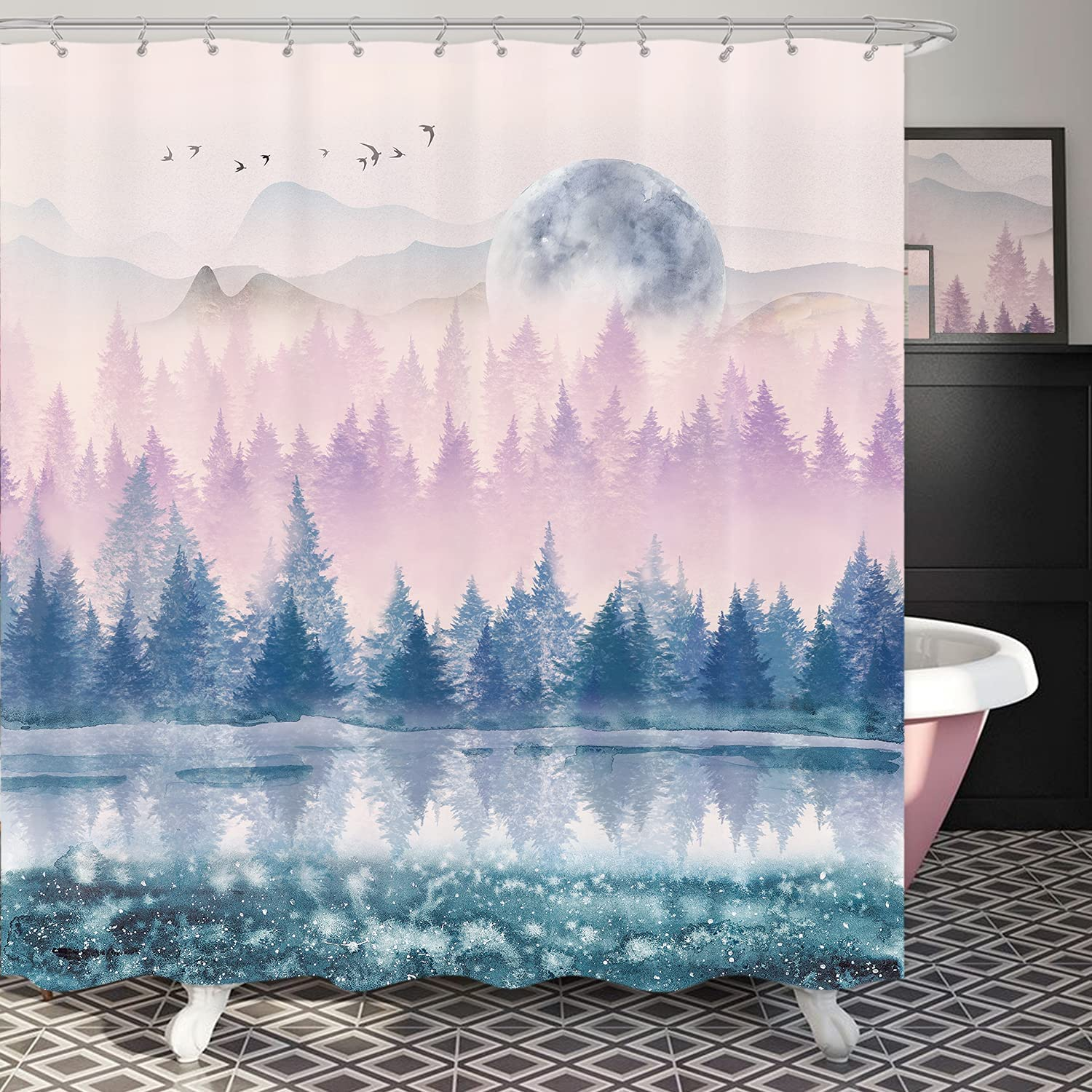 Riyidecor Spring new work Watercolor Forest Shower Curtain Inch 72x72 specialty shop Misty Blue
