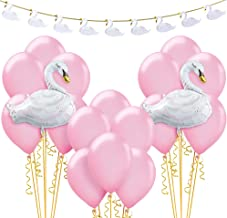 Party City Swan Baby Shower Decorating Supplies, Include a Garland, a Foil Swan Balloon, Pink Latex Balloons, and Ribbon