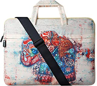 17 Inch Laptop Bag, HESTECH Retro Elephant Laptop Briefcase Computer Bag with Organizer Pocket, Carrying Handle and Shoulder Strap Compatible for 16-17.3 HP Lenovo Dell ASUS