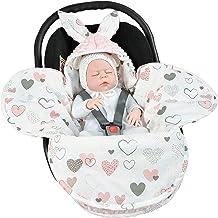 EliMeli Baby Einschlagdecke Babyschale Winter - Rosa Mädchen Decke Universal für Autositz, Kinderwagen Buggys und Babybett, Premium Qualität - Design Minky Pink - Hearts