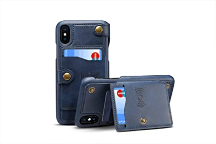 Leather Cover for iPhone X,TACOO Zipper Credit Card Holder Money Slot Slim Soft Fashion Removable Protective Wallet Phone Case Shell for Apple iPhone 10 2017