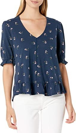 Lucky Brand Women's Short Sleeve V Neck Printed Peasant Top