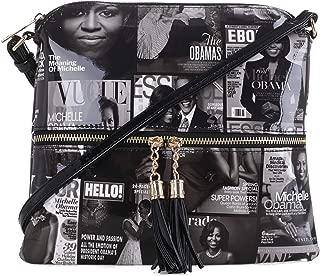 Glossy Magazine Cover Lightweight Medium Crossbody Bag with Tassel Michelle Obama Purse