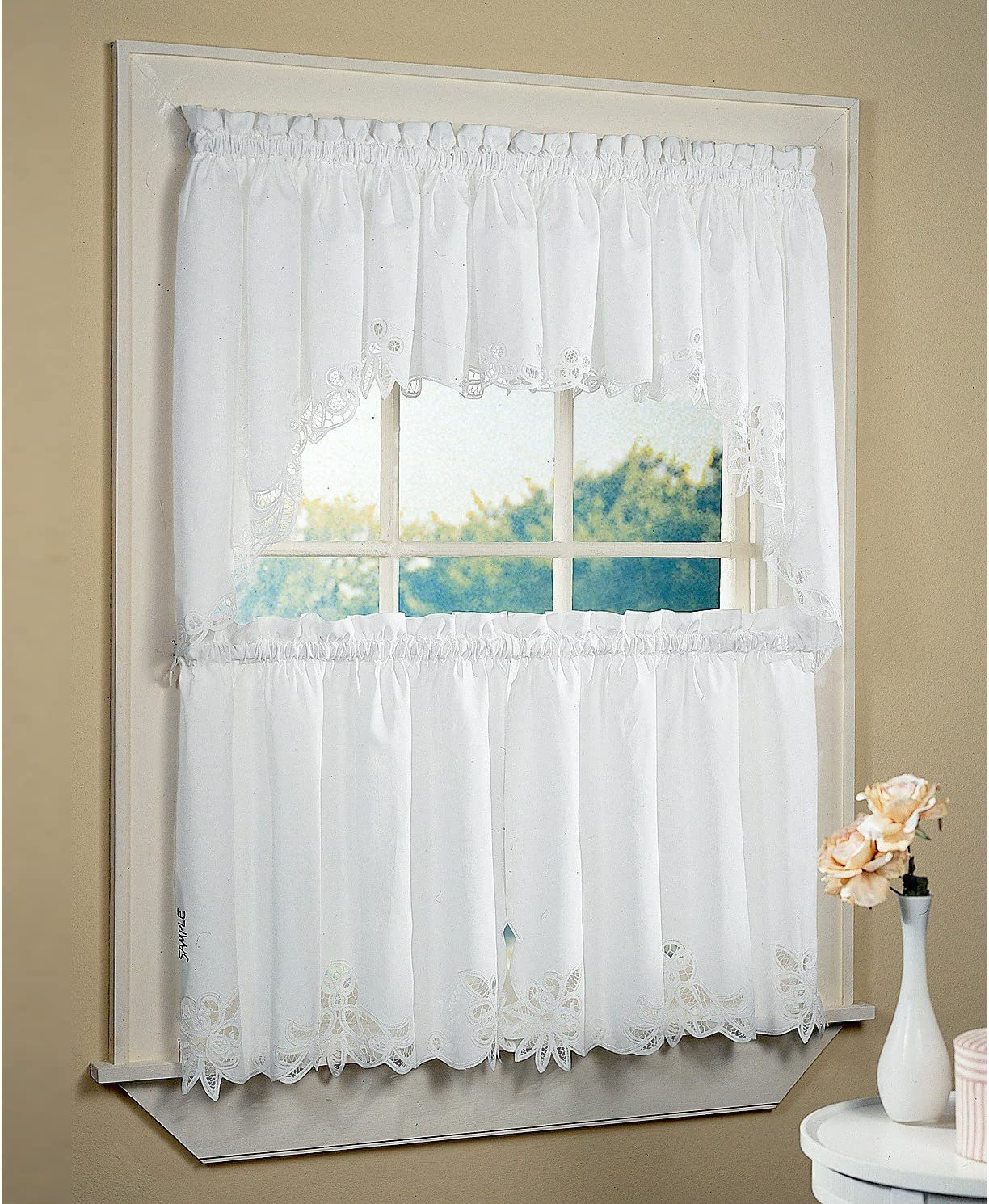Amazon Com Fancy Collection 3pc Off White Beige With Embroidered Kitchen Cafe Curtain Tier And Swag Set Battenburg New 60 X 38 Ercu Dining