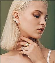 Epinki Women 925 Sterling Silver Earrings Letter