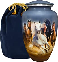 Trupoint Memorials Forever Free Horses Running Adult Large Urn for Human Ashes