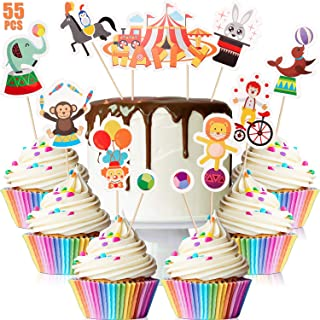 Blulu 55 Pieces Circus Cupcake Toppers Carnival Cupcake Toppers Circus Birthday Decorations Party Table Toppers for Circus Carnival Birthday Party Decoration Baby Shower Birthday Party Supplies