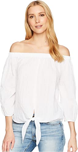 Off-the-Shoulder Shirt with Tie Front