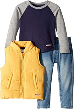 Poly Puffer Vest with Color Blocked Raglan Jersey Top, Stretch Denim Jeans (Toddler)