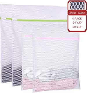 SPLF 4 Pack Extra Large Heavy Duty Mesh Laundry Bags, Durable Delicates Net Wash Bag for Bra Lingerie, Underwear, Socks, Sweaters and Garment, Travel Organization Washing Bag