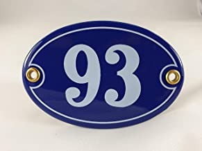 Emaille huisnummerbordje nr. 93, ovaal, blauw-wit Nr. 93 Blau-Weiß + Schrauben und Dübel