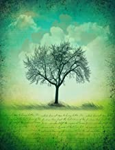 Notebook: 8.5 X 11 202 Lined Pages Script Green Tree Silhouette Graphic Notebook