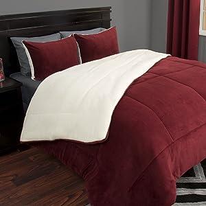 Bedford Home 66A-27377 3 Piece Sherpa/Fleece Comforter Set-F/Q-Burgundy, Full/Queen
