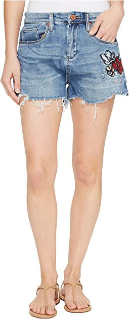 Denim Cut Off Shorts with Embroidered Detail in Inside Joker