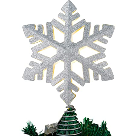 Glittered Treetop Snowflake 2020 New Snowflake Christmas Tree Topper Crafted Tree Top Star Wrought Iron Snowflake Shape Christmas Tree Decoration Props Christmas Ornament