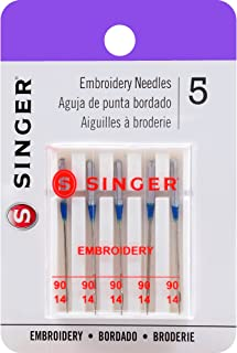 SINGER 04728 Universal Embroidery Sewing Machine Needles, Size 90/14, 5-Count