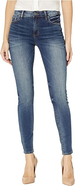Donna High-Rise Skinny Jeans in Plush w/ Dark Stone Base Wash