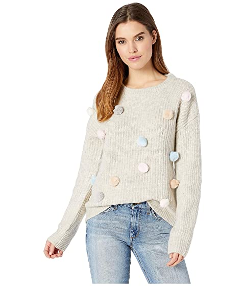 ROMEO & JULIET COUTURE Pompom Knit Sweater, Ivory Multi
