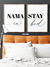 Namastay in Bed, Unframed, 18 x 24 Inches, Set of 2, Posters, Minimalist Art Typography Art, Bedroom Wall Art, Romantic Wall Decor