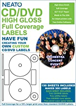 Neato - Full Coverage High Gloss Photo Quality CD DVD Labels - 300 Labels (150 Sheets) - FREE Online Design Software Included