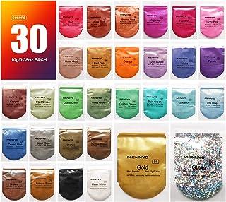 Mica-poeder 30 kleuren (10 g / 0,35 oz, totaal 300 g / 10,5 oz), MENNYO natuurlijke pigmenten Glitter epoxyharsverf voor z...