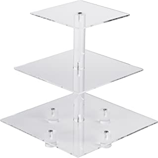 YestBuy 3 Tier Maypole Square Wedding Party Tree Tower Acrylic Cupcake Display Stand 3 Tier Square with Base(4.7