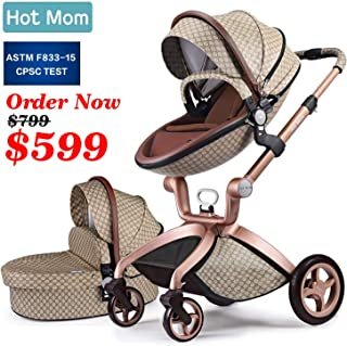 Baby Stroller 2019, Hot Mom New Style 3 in 1 Baby Carriage with Bassinet Combo (Grid)
