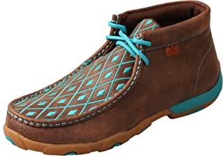 Women's Leather Lace-Up Rubber Sole Driving Moccasins - Brown/Turquoise