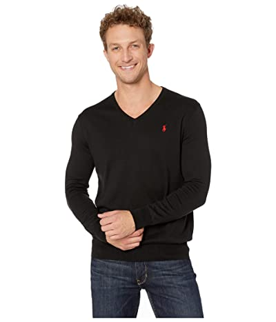 Polo Ralph Lauren Cotton V-Neck Sweater (Polo Black) Men