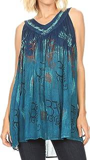Sakkas Mina Women's Casual Loose Ombre Tie Dye Sleeveless Tank Top Tunic Blouse