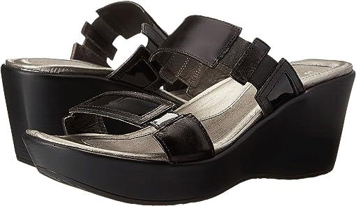 Black Madras Leather/Black Patent Leather