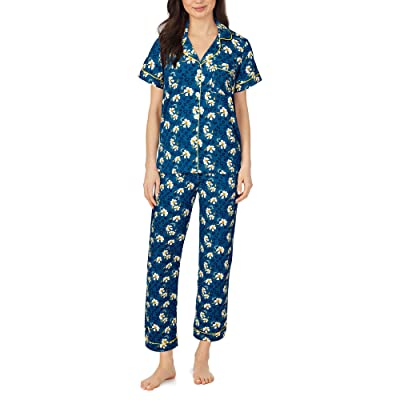 BedHead Pajamas Organically Grown Cotton Elastane Short Sleeve Cropped PJ Set (Feline Floral) Women